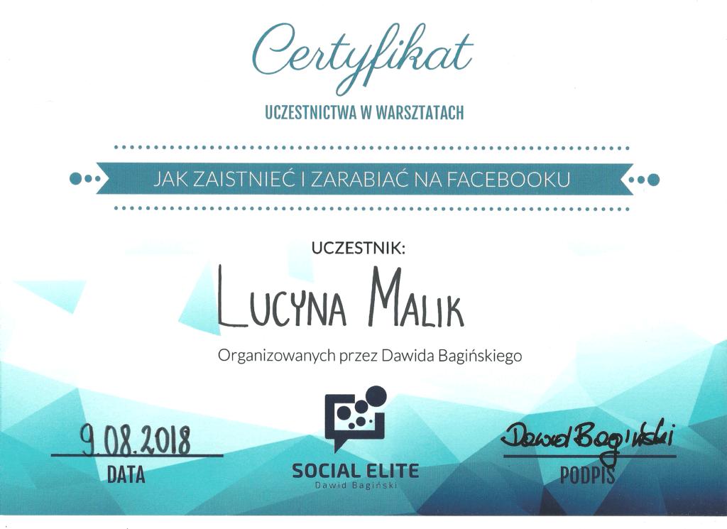 CLucyna Malik certyfikat Jak zaistnieć i zarabiać na Facebooku