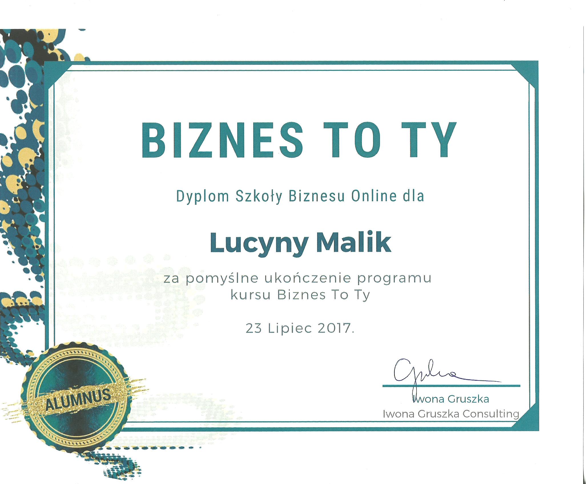 Lucyna Malik Dyplom Szkolenia Biznes to Ty