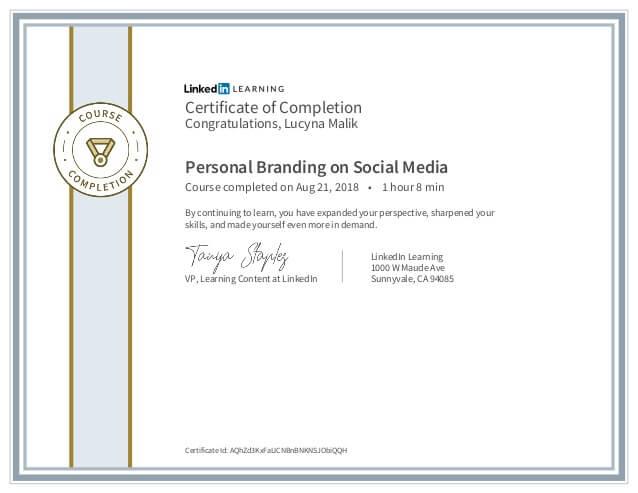 Lucyna Malik Certyfikat Personal Branding