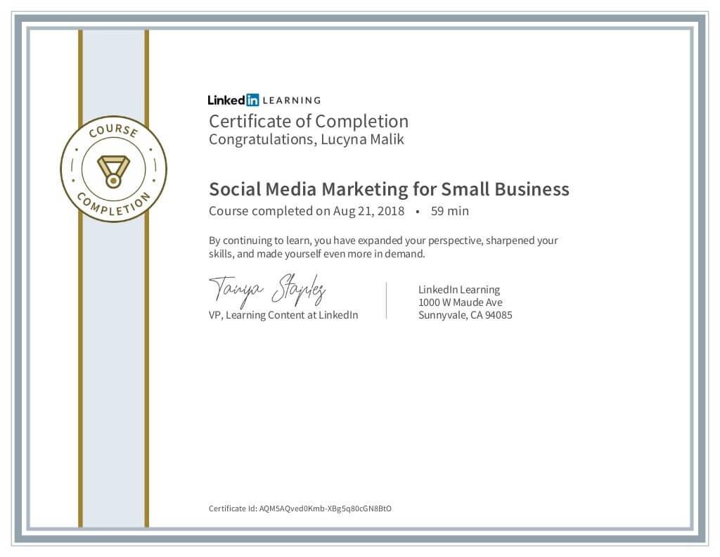 Lucyna Malik certyfikat Social Media Marketing for Small Business