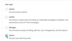 Role na stronie w MailChimp