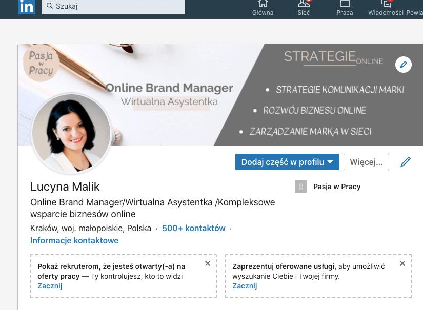 linkedin - Pasja w Pracy - Lucyna Malik - Online Brand Manager - WA